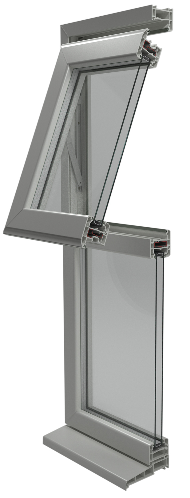 Sección de ventana proyectante con antepecho fijo.