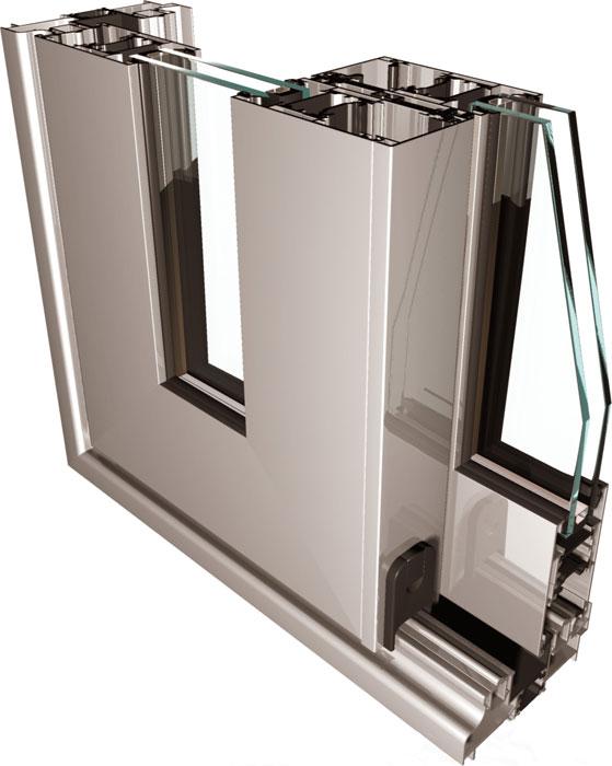 Sección de puerta corredera en Aluminio con RPT