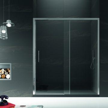 Mampara de ducha con vidrio templado y perfiles en plata brillo